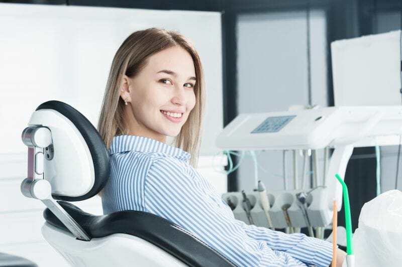 young woman at dentist for root canal